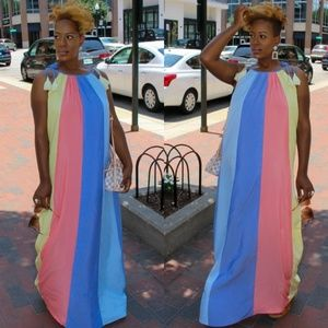 👗👗👗 Colorblock Oversize Festival Maxi Dress